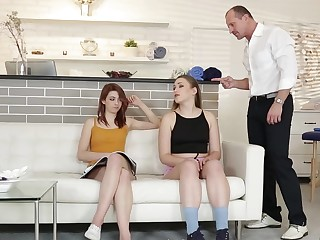 Tough guy and his wife seduced foxy teen for a hot threesome