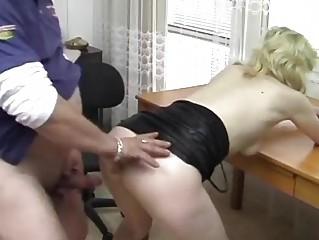 German blonde banged on the desk - Acheron