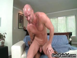 Pierced sack gets hard black part2