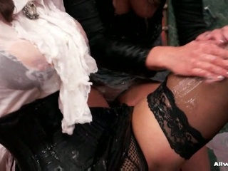 Two horny lesbos getting nasty with greasy gel