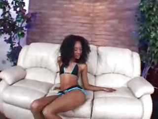 Beautiful ebony babe Kapri ass creampied