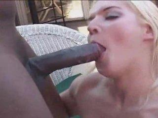 Shaved girl gets a black 10-Pounder up her butt