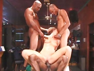 Saucy Ashley Moore acquires pounded by these hard jocks