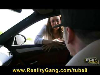 Hot brunette hitchhiker, Melanie Rios, gets a ride and rides a cock