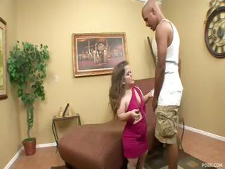Midget Mini Mya receives a big black cock