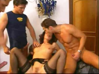 Euro brunette in fun gangbang with facials