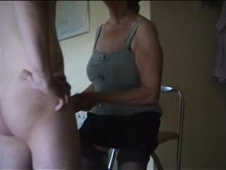Dominant old lady makes him take up with the tongue her